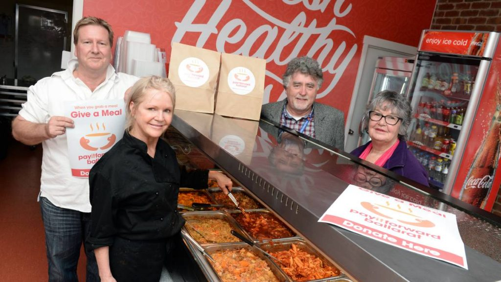 Help: Country Casseroles' Ian Tantau and Trish Tantau, Salvation Army's John Clonan and Soup Bus' Lorraine Gittings. Picture: Kate Healy